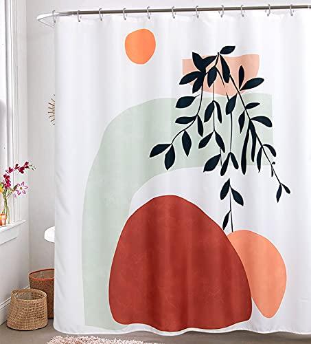 RoomTalks Modern Abstract Fabric Shower Curtain - Aesthetic Boho Cute Bathroom Shower Curtains Set Contemporary Art Minimalist Line Shapes Decorative Bath Curtain (72''W x 72''L, White)