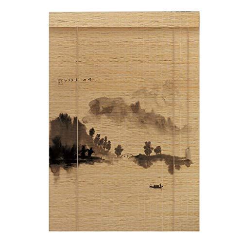 Bamboe gordijn, Optillen Rolluik Raam/terras/deur/balkon, 50% Filteren Chinese Landschap Schilderen Rolgordijnen, Diverse Linialen Inch Kan worden gekocht