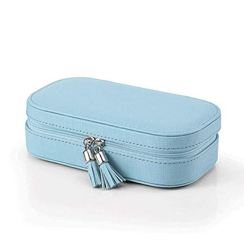 Jewelry Box 18 * 10 * 5.1cm Pendientes portátiles Pendientes de Viaje Pendientes Caja de Almacenamiento de Joyas (Color: Negro) leilims (Color : Blue)