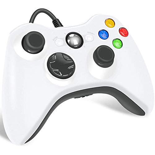 Xbox 360 Wired Controller for Microsoft Xbox 360, Game Controller with Dual-Vibration Turbo for Xbox 360/360 Slim and PC Windows 7,8,10 (White)