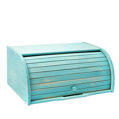 AVV Farmhouse Teal Bread Box for Kitchen Countertop Extra Large Counter Roll Top Rustic Bamboo Breadbox Turquoise Loaf of Bread Boxes Blue Storage Container