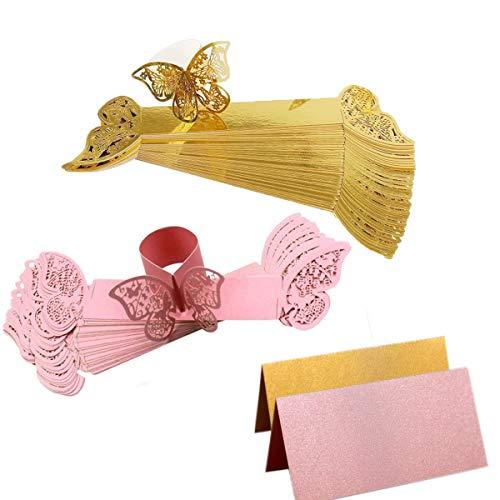 Xumier 70pcs Schmetterling Papier Servietten Schnalle mit Ausgeschnittenem Design serviettenringe Papier Hochzeit Schmetterling Papier deko Rechteckige Sitzkarte Hochzeit Platzkarten Pink/Gold
