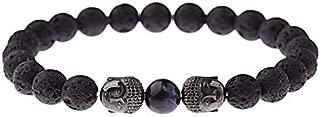 Initial Bracelet Amader Charm Buddha&Evil Eye Bracelet Women 8mm Elastic Round Bright Black Stone Bracelets Men Homme