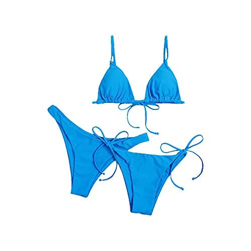 Yutdeng 2021 Donna Set Bikini 3 Pezzi Sexy Costume da Bagno Triangolo Bikini Top e Bikini a Vita Bassa Push up Reggiseno Imbottito Brasiliano Bikini da Spiaggia