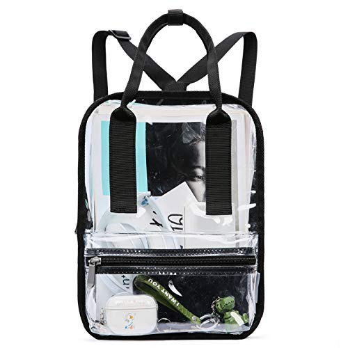 """mommore Mini Stadium Approved Clear Backpack Durable See Through Bookbags for Security, Sport Event, Concert, 11"""" Transparent Small Tote Bag with Detachable Shoulder Strap, Black"""