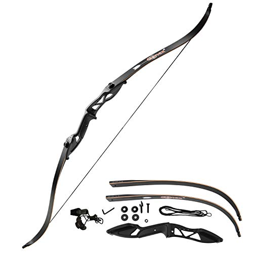 Gonex Takedown Recurve Bow, Hunting Archery Bow Long Bow for Beginner, 56' Right Handed Longbow 40 45 50lb Bow for Adults with Bow String,Black