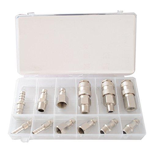 """CCLIFE 12 tlg Druckluft Schnellkupplung Stecknippel Sortiment Werkzeug Druckluft Adapter Kupplung Set 1/4"""" 3/8"""" 1/2"""""""