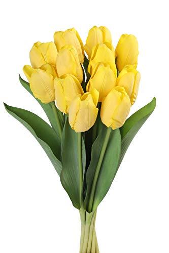Roqueen 12 Pezzi Tulipani Artificiali Tocco Reale Fiori Finti per Casa Nozze Mazzo Festa Preparativi Ufficio DIY Decorazione (Giallo)