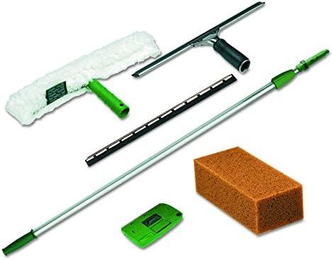 Unger PWK00 Pro Window Cleaning Kit w/8ft Pole, Scrubber, Squeegee, Scraper, Sponge
