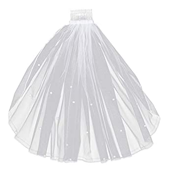Amosfun veils for brides wedding veil white bride costume corpse women vale decorations the -Wedding Veil Cathedral Chapel Short Elegent White Lace Veil Wedding Veil Pearl Veil with Hair Comb