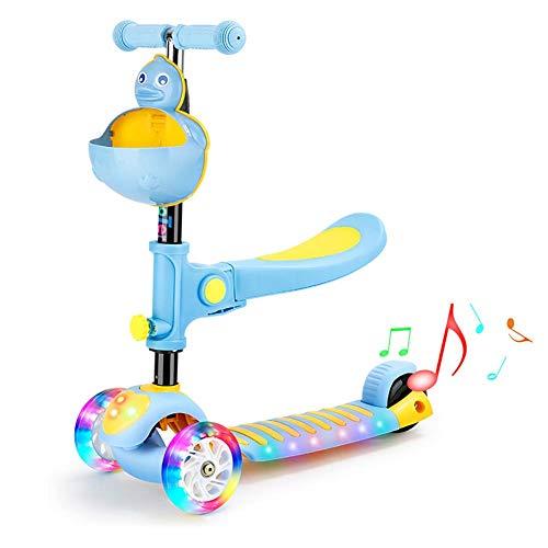 FXQIN Patinete de 3 Ruedas para niñas niños de 2 a 12 años Scooter Musical Tri Scooter con Asiento Plegable y Desmontable, Altura Ajustable de 4 Niveles, 3 Ruedas de luz LED,Azul