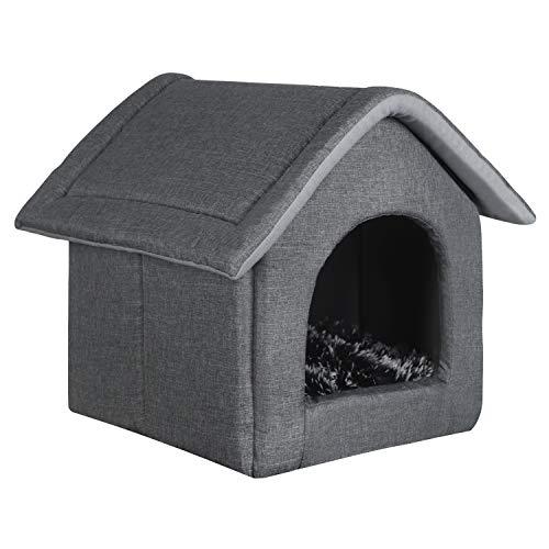 EUGAD Hundehaus Hundehöhle Katzenhaus Katzenhöhle für Beagle Französische Bulldogge Pudel Jack Russell Terrier Dackel Grau L 52x46x52cm 0011GD