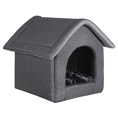 EUGAD 0011GD Hundehaus Hundehütte Katzenhöhle Katzenhaus Drinnen mit herausnehmbarer Matte Kissen Hellgrau 52x46x52cm