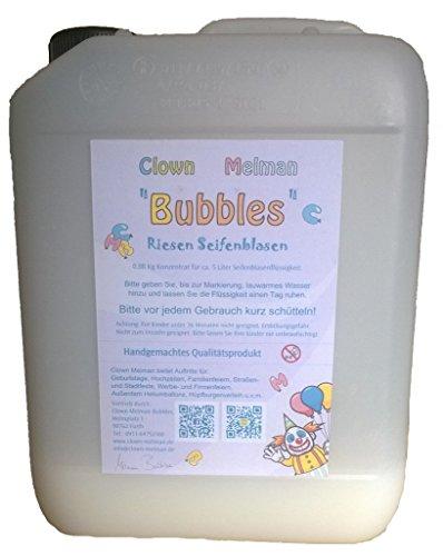 Clown Melman Bubbles Konzentrat für 5 Liter Riesenseifenblasen, Seifenblasen, Kanister mit Seifenblasenflüssigkeit