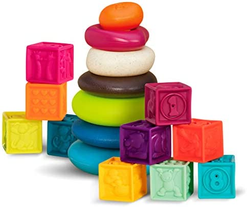 B. toys – One Two Squeeze Baby Blocks - Building Blocks for Toddlers – Educational Baby Toys 6 Months & Up with Numbers, Shapes, Animals & Textures – 10 Soft & Colorful Stacking Blocks