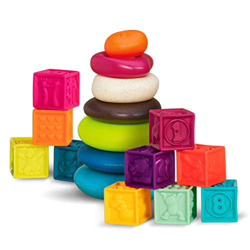 B. toys – Baby Blocks & Stacking Rings – 10 Numbered Blocks & 5 Colorful Rings – Building Play Set for Infants – One Two Squeeze & Stacking Stones – Educational Toys – 6 Months + (BX1971Z)