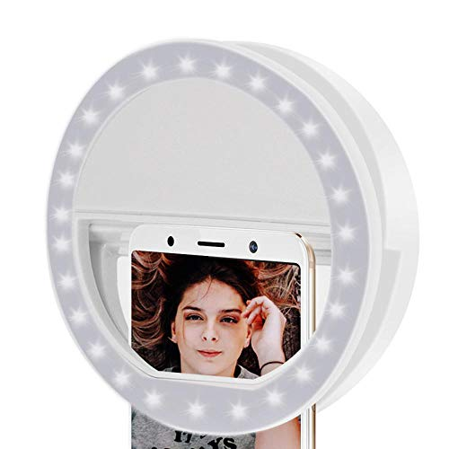 Selfie Ring Light voor elke mobiele telefoon [oplaadbaar] [4 Perfect Modus] LED Selfie Ring Light voor iPhone iPad Clip op camera 3,3 x 3,3 x 1,1 inch