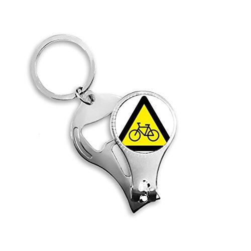 Warnung Symbol gelb schwarz Fahrrad Triangle Schild Mark Logo Notizen Metall Schlüsselanhänger Ring Multifunktions-Nagelknipser Flaschenöffner Auto Schlüsselanhänger Best Charm Geschenk