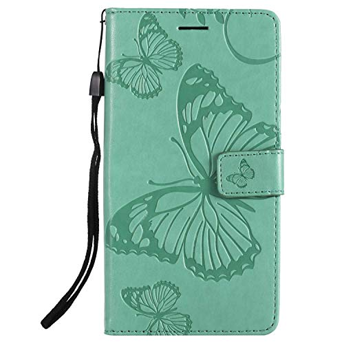 DENDICO Hülle für Xiaomi Redmi Note 5A, PU Leder Handyhülle Schutzhülle mit Standfunktion & Kartenfach für Xiaomi Redmi Note 5A - Grün