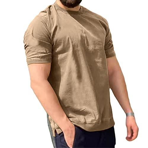 Shirt Ocio Hombre Transpirable Cuello Redondo Empalme Manga Corta Hombre T-Shirt Verano Contraste De Color...