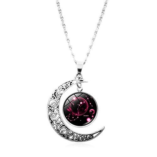 Hislaves Colares, 12 Constelações Meio-Lua Signo do Zodíaco Astrologia Colar com pingente de horóscopo para mulheres, adolescentes e meninas Aquarius