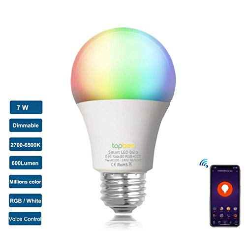 LEDGM Smart WiFi LED Light Bulb (No Hub Required), Compatible with Alexa Google Home Siri IFTTT,E26 7W (60W Equivalent) Dimmable RGBCW LED Smart Multi-Color Lights Bulb