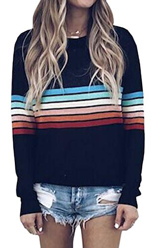 ECOWISH Women's Sweater Rainbow Colorful Striped Sweaters Long Sleeve Crew Neck Color Block Casual Pullover Blouse Tops Black Medium