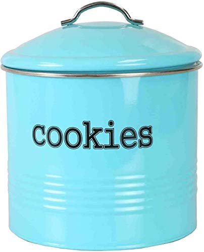 Tin Farmhouse Vintage Turquoise Cookie Jar with Airtight Lid for Cookies, Biscuits, Baked Treats, Snacks