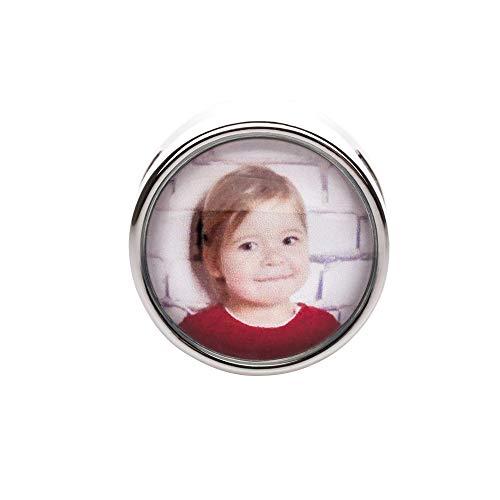 KT-Schmuckdesign Schiebeperle aus versilbertem Metall mit Glascabochon und Wunschfoto