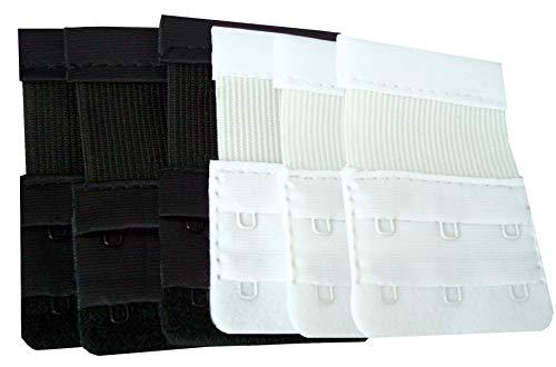 GreatIdeas DIY Doctor Medipaq® BH-Verlängerung 6 Stück (3x Schwarz, 3x Weiss) Werfen Sie Ihren Engen BH nicht weg! (3 Haken)