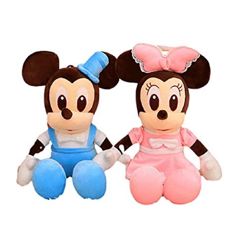 2 uds 50Cm Mickey y Minnie Mouse de Peluche de Juguete Suave Mickey Minnie Amantes muñecas cojín Almohada cumpleaños Boda Regalos para Chico niños