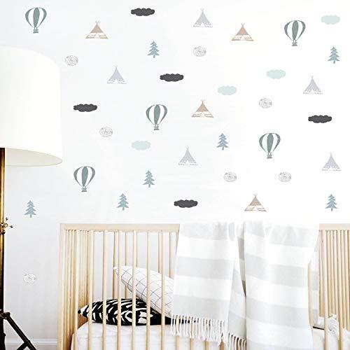 Nordischen Stil Tribal Ballon Tipi Baum und Wolke Wandaufkleber Für Schlafzimmer Wohnzimmer...