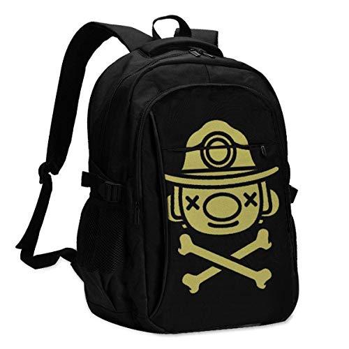 JSDF USB Backpack Geek Spelunky School Business Durable16 Inch Laptops Bag Charging Port Gifts Men Women Student