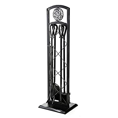 Plow & Hearth Celtic Knot 5 Piece Fireplace Tool Set, Steel Construction, Includes Stand, Poker, Shovel, Broom, and Tongs 10-Inch Sq. x 29 H Black Finish
