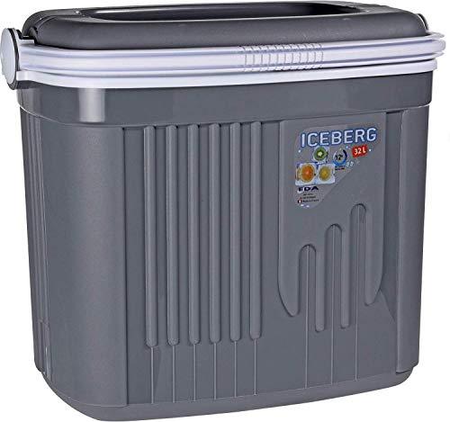 Iceberg Kühlbox, 32 Liter oder 8 Liter, Picknick-Box, isoliert, mit Verriegelung und Deckel, Grau, 8 Litre