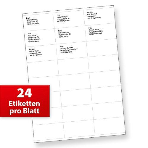 FIX Adress-Aufkleber Etiketten (70 x 36 mm, 2.400 Stück) auf 100 Blatt je 24 Etiketten, für Briefe, INTERNETMARKE uvm.