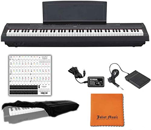 Yamaha P125 Black 88 Weighted Keys Digital Piano Keyboard Bundle with Juliet Music...