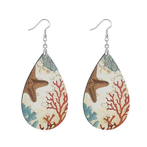 Pendientes colgantes de madera con forma de lágrima, diseño tropical colorido de estrella de mar del Caribe y coral con forma de lágrima para mujeres y niñas (1 par)