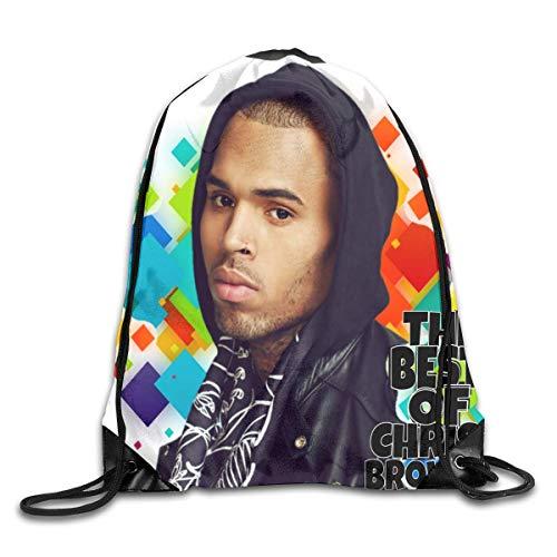 JHUIK Drawstring Bag Backpack,Chris Brown Fashion Bundle Sac à Dos Sacs à bandoulière Homme Femme Sac de Conception de Cordon extérieur Taille Unique