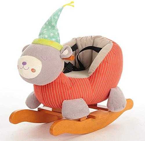 Rocking horse GCX kidsmusic Trojan baby toy baby rocking chair solid wood trojan birthday gift plush smooth (Color : Orange)