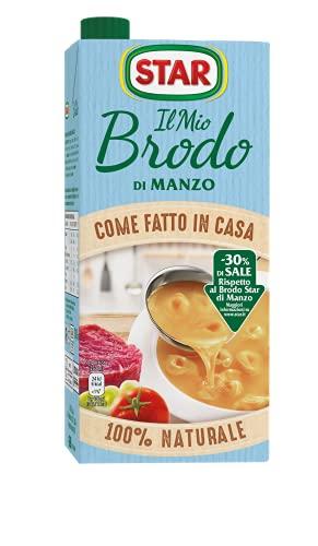 STAR Brodo Carne di Manzo -30% Sale, Brodo Liquido Pronto, 100% Naturale, Senza Conservanti, Senza Glutammato Aggiunto, Senza Glutine, Ideale Per Zupp