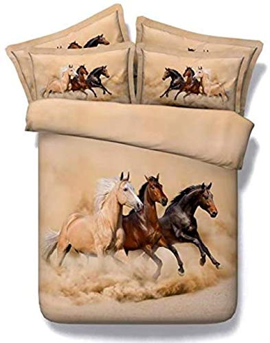 Meesovs Kids Bedding Set Microfiber Duvet Cover Yellow sky land sand dust animal horse landscapeSingle(135 X 200 cm) 3 pcs Set with Zipper Closure - Shrinkage and Fade Res+ 2 pillowcases (50 x 75 Cm)