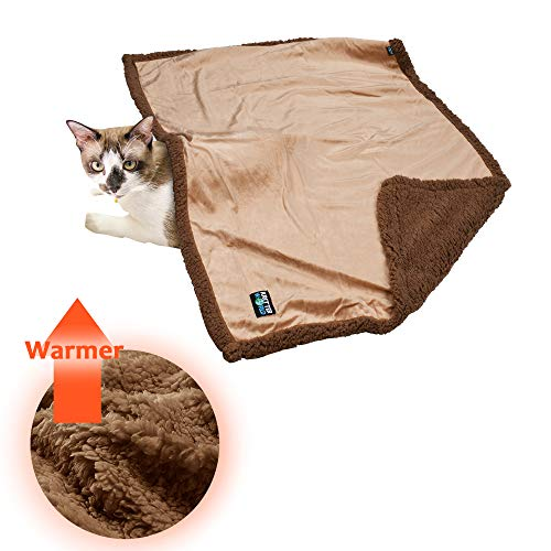 Tirrinia Sherpa Dog Blanket Kitten Microplush Snuggle Blanket for Couch, Car, Trunk, Cage, Kennel, Dog House, Light and Warm Throw for Small Pets, Machine Washable, 45' x30' Latte/Brown