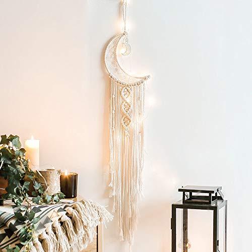 MoYouno Handgemachte Mond Traumfänger, Quaste Baumwolle gewebte Makramee Wandkunst Home Decor, Hochzeit Ornamente Rustikales Handwerk