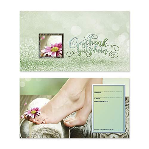 25 hochwertige Gutscheinkarten Geschenkgutscheine. Gutscheine für Fußpflegesalon Fußpflege Fußpflegeinstitut. Vorderseite hochglänzend. FU1230