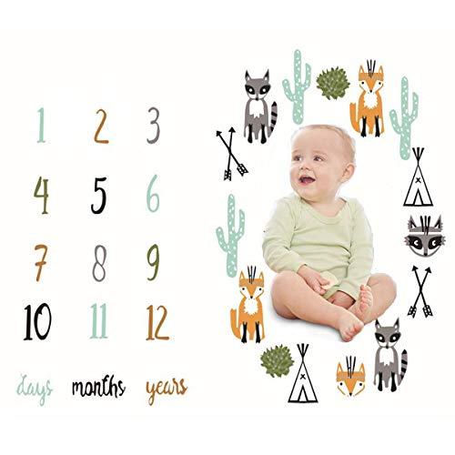 WENTS Manta con estampado floral para bebé, a modo de fondo fotográfico, con diseño de corona con tabla de meses para recién nacido