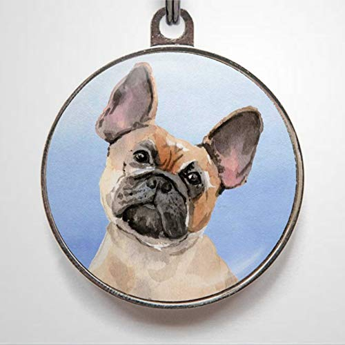 French Bull Charm Frenchie Personalized Pet ID Tags, 1.38-1.5inch Cat Dog ID Tag & Two Sided Dog Name Tag.