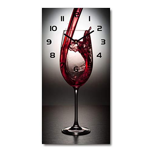 Tulup Orologio Da Parete In Vetro 30x60cm Decorativo Bianca - vino rosso