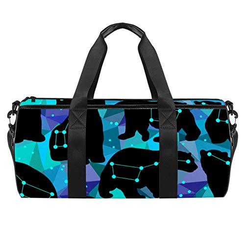 Silhouettes Of The Bears - Borsone da viaggio cilindrico con tasca bagnata, leggero, da viaggio, con tracolla per uomo e donna