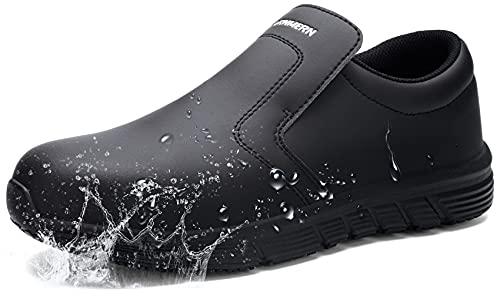 LARN SAFETY Waterproof Chef Shoes Men Slip Oil Water Resistant Chef Clog Kitchen Shoe Food Service Nurse Slippers Work Shoes 3301(Black/ Men11)